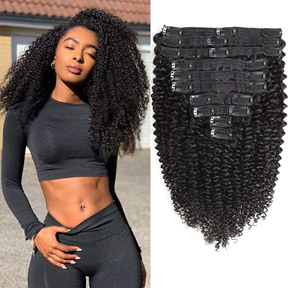 Kinky Curly Clip in Human Hair Extensions Brazilian 8A Grade Human Hair for Black Women Real Soft Thick Afro Kinkys Curly Clip Hair Ins 3c 4a,Blends Well,Natural Black Color,10/Pcs,120 Gram,18 Inch