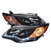 Spyder Auto (PRO-YD-TCAM12-DRL-BK) Toyota Camry Black Projector Headlight with LED Daytime Running Light