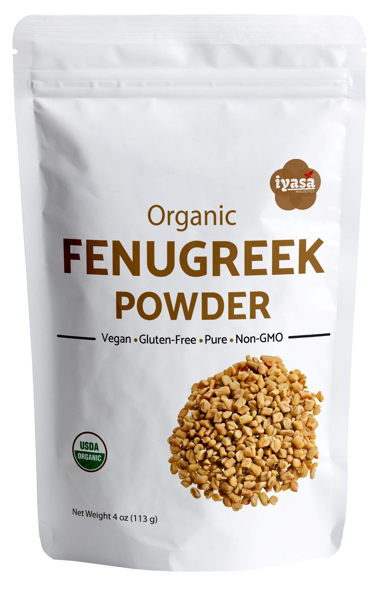 Organic Fenugreek Seeds Powder (Methi), Pack of 4 Oz/112 Gm, USDA Organic, Food Flavoring agent, Supports Lactation, Natural Hair & Skincare, Ayurveda Superfood ,Resealable Pouch (Trial Pack-4 oz)