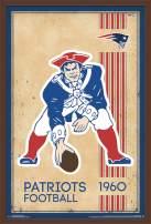 "Trends International NFL New England Patriots - Retro Logo, 22.375"" x 34"", Mahogany Framed Version"