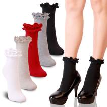YOUNEEDTHAT 3/5 Pack Women's Ankle Ruffle Frilly Socks Cotton Casual Lace Solid Colors