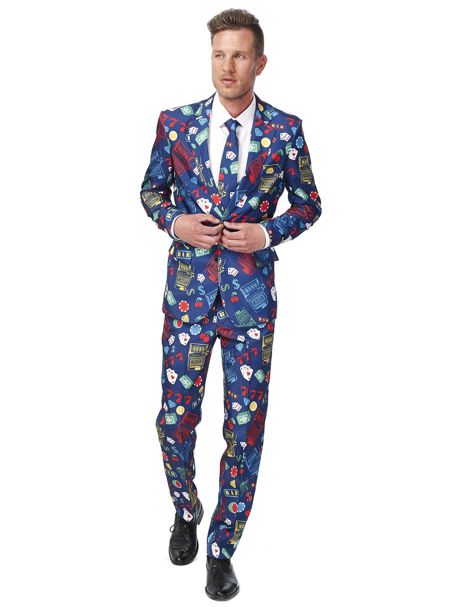 Suitmeister Funny Suits for Men in Different Prints - Comes with Jacket, Pants and Tie with Fun Prints