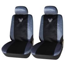 Adeco [CV0201 4-Piece Velvet Car Vehicle Seat Covers, Universal Fit, Black/Silver, Em.