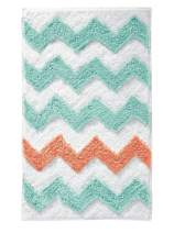 "iDesign Chevron Bath Rug, Machine Washable Microfiber Accent Rug for Bathroom, Kitchen, Bedroom, Office, Kid's Room, 34"" x 21"", Teal Blue and Coral Pink"