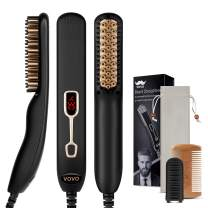Beard Straightener Comb Upgrade Professional 2 in 1 Men's Beard Straightening Heated Hair Straightening Brush Portable Anti-Burn 6 Temperature Adjustable with LED Display for Home and Travel