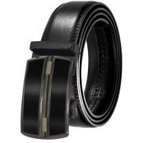 KSENIA Men's Genuine Leather Ratchet Dress Belt Automatic Buckle Black Elegant Gift Box