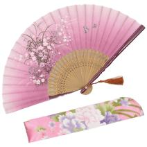 "OMyTea ""Grassflowers 8.27""(21cm) Hand Held Folding Fans - with a Fabric Sleeve for Protection for Gifts - Chinese/Japanese Vintage Retro Style (Red)"