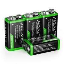 HiQuick 9 Volt Rechargeable Batteries, 280mAh Ni-MH High Capacity Low Self-Discharge 9V Batteries, 4 Packs for Smoke Alarm Detectors