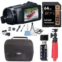 Canon Vixia HF W10 Waterproof Camcorder Bundle with Lexar 64B Memory Card, Card Reader, Tabletop Tripod, Camera Bag and XIT Deluxe Cleaning Kit