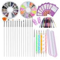 Nail Art Tools Polish Kit 15pc Gel Nail Brush Set, 5pc Nail Marbleizing Dotting Pen, 2 Boxes Rhinestone Decoration, 8 Sheet Water Nail Decals Stickers, 10pc Holo Striping Tape Line, 5pc Nail Files