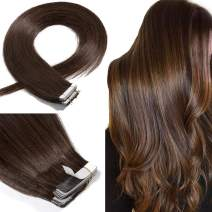 Tape In Real Human hair Extension Glue In Skin Weft Hair Extensions Rooted Tape in Remy Hair Seamless Invisible Double Sided Tape Human Hair Extensions For Women 20 inch 50g 20pcs #04 Medium Brown