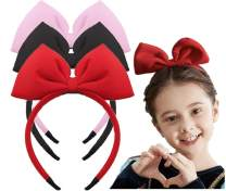 Toptim Bow Headband Bowknot Hairband Big Bow Halloween Christmas Hair Bands Women Girls Kids Hair Hoop (3 Colors Pink Black Red)