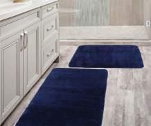 "Bathroom Rugs Mat Navy 24"" x 36"" + 20"" x 30"" Set Microfiber Bath Mat Absorbent Thick Machine Washable Perfect Bath Rug for Shower, Bath Room, Bedroom(20x30+24x36, Navy)"