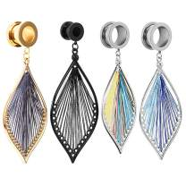 TBOSEN 2pcs Ear Dangle Gauges Handmade Leaf Shap Dangling Plugs and Tunnels for Ears Streched Size Gauge 2g to 1 inch