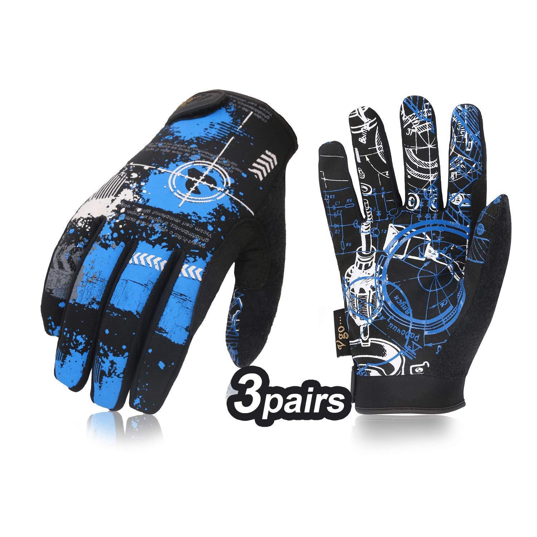 Vgo 3 Pairs High Dexterity Light Duty Antislip Mechanic Glove (Size L, Blue, SL8690)