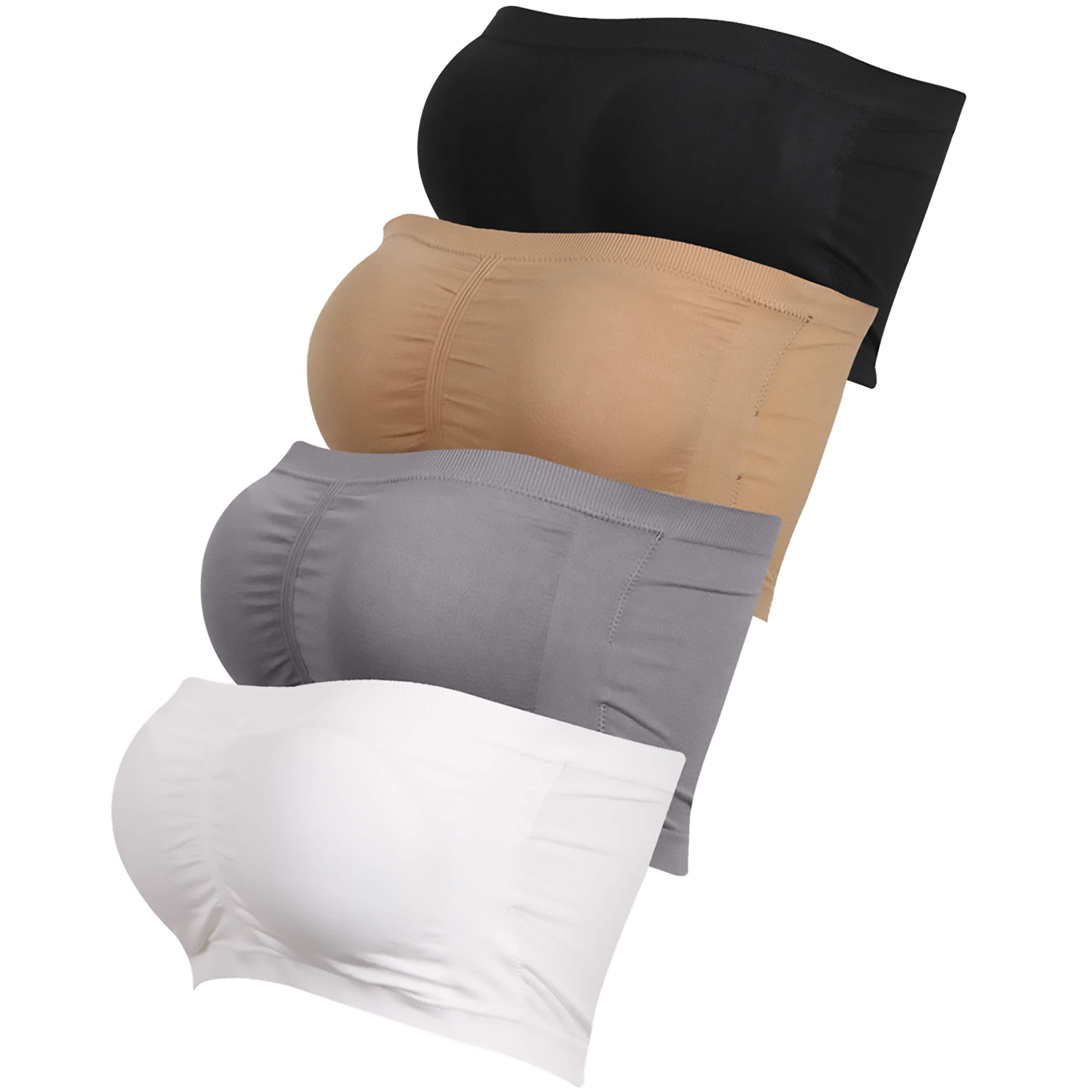 saillsen Women's Seamless Padded Bandeau, Basic Layering Strapless Tube Top Bra Stretch Bralette 1-4 Packs