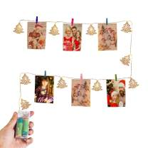 Christmas Light Decoration- LED String Lights with 10 Wooden DIY Photo Clips-Silver Tree Metal Decorative Battery Power Warm White for Pictures Hanging for Dorm, Bedroom, Wedding, Birthday Party Décor