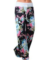 Famulily Women's American Flag Floral Drawstring High Waist Wide Leg Pants