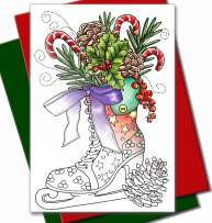 Art Eclect Adult Coloring Christmas Cards 20 Cards With 20 Unique Designs, 10 Red and 10 Green Envelopes Included (Christmas Set C3)