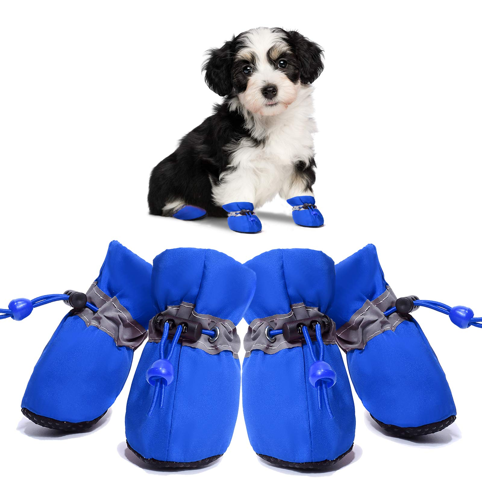 Dog Boots Anti-Slip Shoes Pet Paw Protector for Small Medium Dogs and Puppies 4PCS