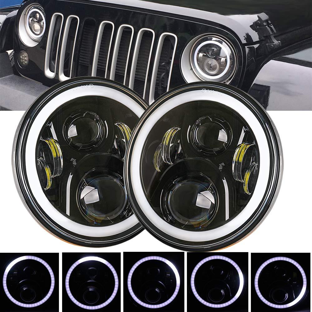 HOZAN 7 inch Round Led Projector JK Headlights with Flowing White Halo Ring Angel Eyes Lights for Jeep Wrangler JK JKU TJ CJ Hummer Sahara Rubicon