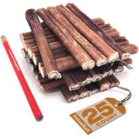 ValueBull Premium Bully Sticks, Thick 6 Inch, 25 Count - All Natural Dog Treats, Angus Beef Pizzles, Rawhide Alternative