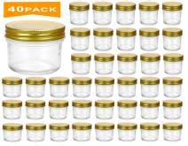 Encheng 4 oz Clear Glass Jars With Lids(Golden),Small Spice Jars For Herb,Jelly,Jams,Wide Mouth Manson Jars Canning Jars For Kitchen Storage 40 Pack …