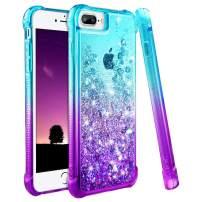 Ruky iPhone 6 Plus 6s Plus 7 Plus 8 Plus Case, Gradient Quicksand Series Glitter Bling Liquid Floating Flexible TPU Women Girls Cover Phone Case for iPhone 6 Plus 6s Plus 7 Plus 8 Plus (Aqua Purple)