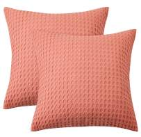"""PHF Cotton Waffle Weave Euro Sham Pack of 2 Home Bed Sofa Couch Decor Soft Cozy Throw Pillow Cover 26"""" X 26"""" Light Coral"""