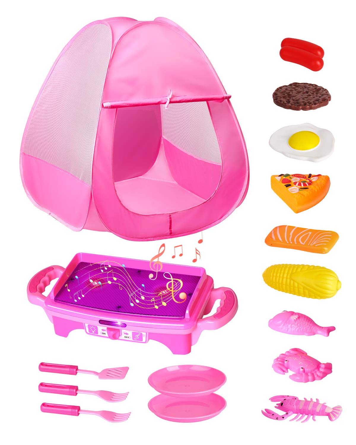 TECBOSS Play Tent, Kids Tent with Camping Kitchen Set for Toddler Girls, Outdoor/Indoor/Yard Toys