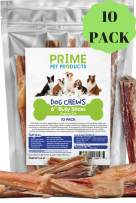 Bully Stick Dog Treats - (6 Inch Bully Sticks Regular 10 Pack) Odorless Premium Grade - No Odor Smell Bully Sticks - All Natural Gourmet Dog Treat Chew for Dogs - Long Lasting - Hormone Free - Large