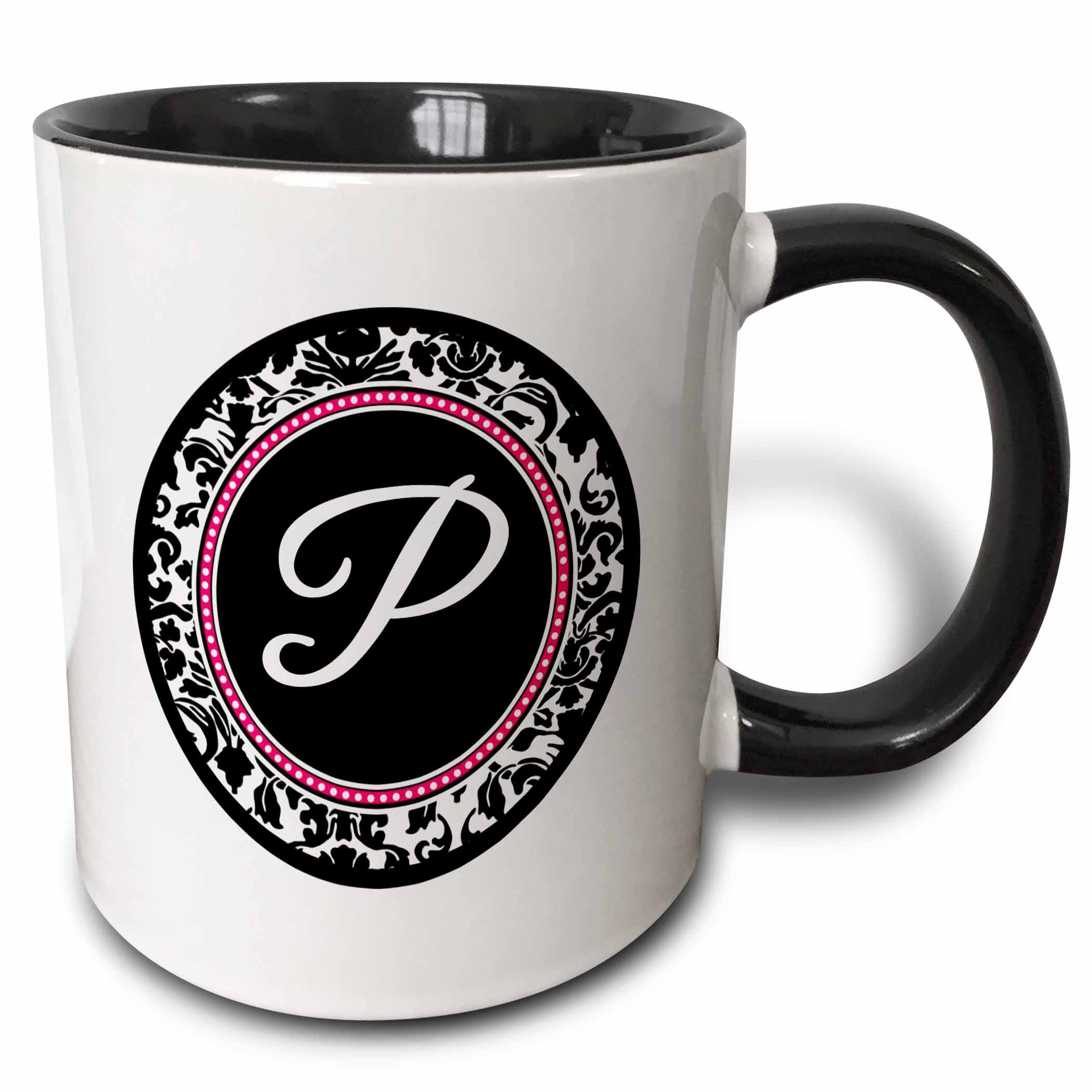 3dRose (mug_154608_4) Letter P stylish monogrammed circle - girly personal initial personalized black damask with hot pink - Two Tone Black Mug, 11oz
