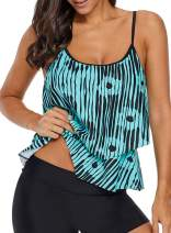 Aleumdr Womens Striped Printed Ruffled Flounce Tankini Swim Top No Bottom S - XXXL