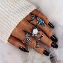 Drecode Boho Ring set Silver Gemstone Joint Knuckle Flower Hand Rings Stackable Midi Opal Hand Jewelry for Women and Girls (6Pcs)