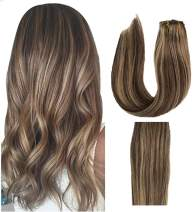 Munx Clip in Human Hair Extensions 18 Inch #4 Medium Brown Highlights #27 Strawberry Blonde Straight Hair Extension Clip on Double Weft 120G 7Pcs 100% Real Hair Extension Clip ins for White Women