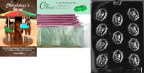 """Cybrtrayd Mdk25PKBk-D017""""Cameo in Lace Moms"""" Chocolate Candy Mold with Bundle of 25 Cello Bags, 25 Pink Twist Ties and Chocolatier's Guide"""