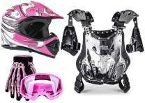 Typhoon Kids Pee Wee Offroad Gear Combo Helmet Gloves Goggles Chest Protector Motocross ATV Dirt Bike - Pink - Medium