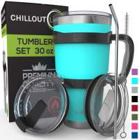 Stainless Steel Travel Mug with Handle 30oz – 6 Piece Set. Tumbler with Handle, Straw, Cleaning Brush & 2 Lids. Double Wall Insulated Large Coffee Mug Bundle - Aqua Blue Powder Coated Tumbler