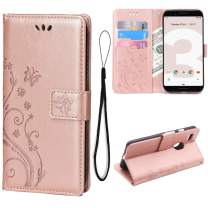 Teebo Wallet Case for Google Pixel 3, Stand Feature with Card Slots Holder Butterfly Flower Premium Leather Magnetic Closure Flip Cover for Google Pixel 3(Rose Gold)