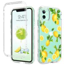 GUAGUA iPhone 11 Case Clear Lemon Fruits 3 in 1 Hybrid Hard Plastic Soft TPU Bumper Cover Anti-Scratch Full Body Shockproof Protective Phone Cases for iPhone 11 6.1-inch 2019 Transparent