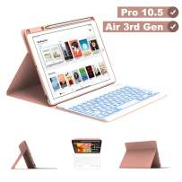 """Maxfree iPad Pro 10.5 2017 Keyboard Case for iPad Air 3rd Gen 10.5 2019, 7 Colors Backlight, Detachable Wireless Auto Sleep Keyboard with Pencil Holder, Full Folio Cover for iPad 10.5"""", Rose Golden"""