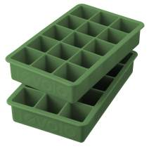 "Tovolo Perfect Ice Mold Freezer Tray of 1.25"" Cubes for Whiskey Bourbon, Spirits & Liquor, BPA-Free Silicone, Fade Resistant, Set of 2, Pesto"