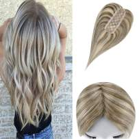 LaaVoo 14inch Remy Straight Clip in Real Human Hair Toppers Crown Cap Size 2 inch by 6 inch with Two Clips Highlights Color Ash Brown Mixed Platinum Blonde Silk Base Toupee For Head Top Hair