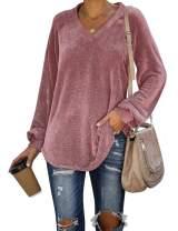 WIHOLL Womens Long Sleeve V Neck Corduroy Shirts Loose Casual Tunic Tops