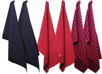Vireo Cotton Kitchen Dish Towels 18 Inch x 26 inch,total set of 6, 2 pcs Black, 2 pcs Red and 2 pcs Red/Black checkerd