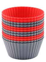 Mirenlife 12 Pack Reusable Nonstick Jumbo Silicone Baking Cups, Cupcake and Muffin Liners, 3.8 Inch Large Size, in Storage Container, Red and Gray Colors, Round