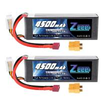 Zeee 11.1V 50C 4500mAh 3S Lipo Battery with Deans and XT60 Plug for RC Airplane Quadcopter Drone Helicopter Boat RC Car Truck Racing Models(2 Pack)