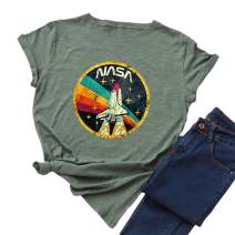 Nicetage Women Vintage Space Shuttle Graphic T-Shirt NASA Letter Print Shirt Casual Tee Tops