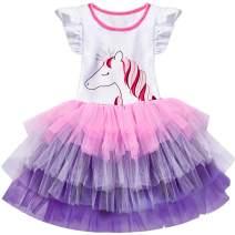 NNJXD Girls Tank Dress Unicorn Rainbow Tulle Sequin Mesh Party Wedding Princess 2pcs Outfits