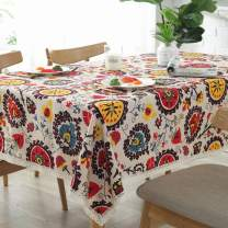 Bringsine Vintage Rectangular Cotton Linen Lace Sun Flower Tablecloth, Washable Tablecloth Dinner Picnic Table Cloth Home Decoration (Rectangle/Oblong, 55 x 79 Inch)